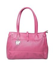Butterflies Pink Cut-Out Textured Shoulder Bag