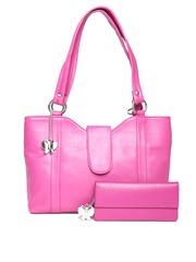 Butterflies Pink Shoulder Bag with Wallet