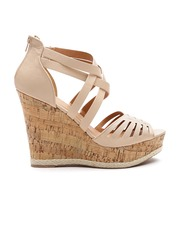 Qupid Women Beige Strappy Cut-Out Textured Wedges
