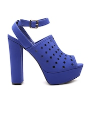 Qupid Women Blue Cut-Out Peep-Toed Platforms