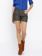 Roadster Women Grey Solid Denim Shorts