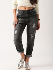 All About You from Deepika Padukone Women Charcoal Grey Boyfriend Fit Distressed Jeans