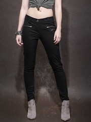 Roadster Women Black Solid Skinny Fit Flat-Front Casual Trousers