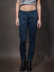 Roadster Women Navy Solid Skinny Fit Chino Trousers