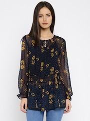 DressBerry Women Navy Sheer Smocked Tunic