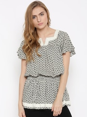 DressBerry Off-White & Black Printed Blouson Tunic