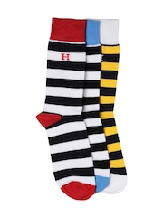 HARVARD Men Set of 3 Striped Crew Socks