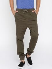 HRX by Hrithik Roshan Men Olive Green Solid Regular Fit Cuffed Trousers