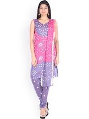SOUNDARYA Pink & Purple Bandhani Print Unstitched Dress Material