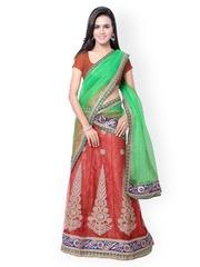 Nanda Silk Mills Red & Green Embroidered Net Unstitched Lehenga Choli with Dupatta