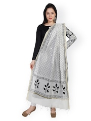 Dupatta Bazaar White & Black Floral Block Print Chanderi Cotton Silk Dupatta