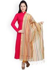 Dupatta Bazaar Beige Striped Chanderi Cotton Silk Dupatta