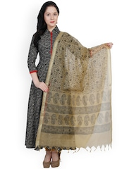 Dupatta Bazaar Beige Block Print Cotton Silk Dupatta