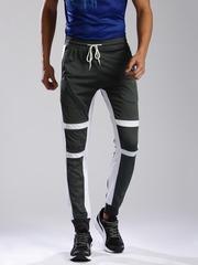 HRX by Hrithik Roshan Charcoal Grey & White Colourblocked Track Pants