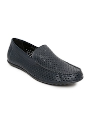 Bata Men Navy Leather Cut-Out Loafers