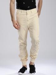 HRX by Hrithik Roshan Men Cream-Coloured Regular Fit Jogger Trousers