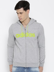Adidas NEO Grey Melange CE LG FT Z Printed Hooded Sweatshirt