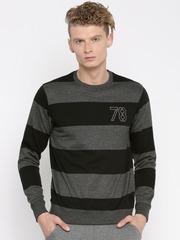 Roadster Black & Charcoal Grey Striped Sweatshirt