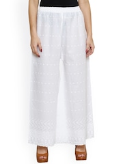 Castle White Embroidered Relaxed Fit Palazzo Trousers