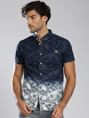 Superdry Navy Printed Ombre-Dyed Casual Shirt