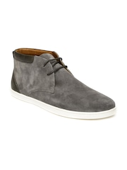 Louis Philippe Men Grey Mid-Top Suede Boots