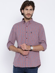 U.S Polo Assn. Blue & Red Checked Tailored Fit Casual Shirt