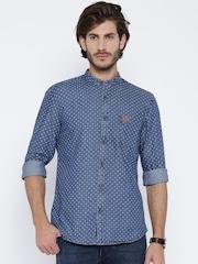 U.S. Polo Assn. Blue Printed Denim Casual Shirt