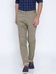 U.S. Polo Assn. Khaki Slim Fit Printed Trousers