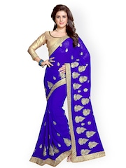 Mirchi Fashion Blue Embroidered Faux Georgette Embellished Saree