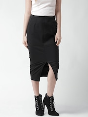 New Look Black Panelled Midi Pencil Skirt