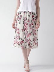 New Look White Floral Print Midi Skirt