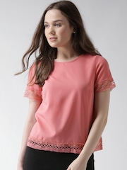 New Look Coral Pink Crochet Detail Top