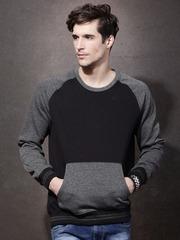 Roadster Men Black & Charcoal Grey Pullover Sweatshirt