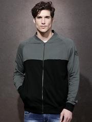 Roadster Men Black & Grey Colourblocked Pullover Sweatshirt