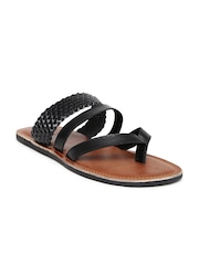 Tortoise Men Black Leather Sandals