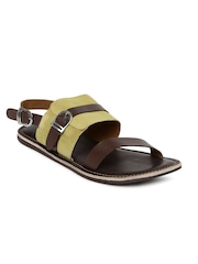 Tortoise Men Brown & Mustard Yellow Leather Sandals