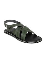 Tortoise Men Green Leather Sandals