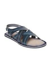Tortoise Men Teal Blue Leather Sandals