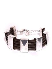 Parfois Brown & Silver-Toned Cow Leather Bracelet