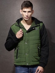 Roadster Black & Olive Green Colourblocked Padded Jacket with Detachable Hood