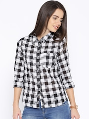 ONLY Black & White Checked Embellished Shirt
