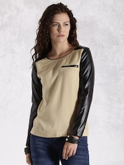 Roadster Women Beige & Black Colourblock Top