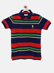 U.S. Polo Assn. Kids Boys Red & Navy Striped Polo T-shirt