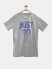 Nike Boys Grey Melange Printed T-shirt