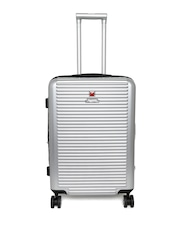 SWISS MILITARY Unisex Silver-Toned Comet 24 IN Medium Trolley Suitcase