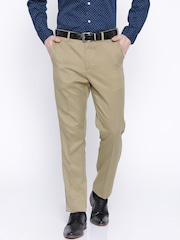 Arrow Beige Tapered Fit Polyester Formal Trousers