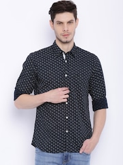 Parx Men Black Printed Slim Fit Casual Shirt