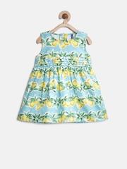 YK Baby Girls Green Printed A-Line Dress