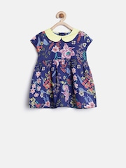 YK Baby Girls Navy Floral Print Fit & Flare Dress