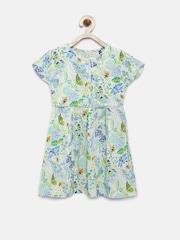 YK Girls Green Printed A-line Dress